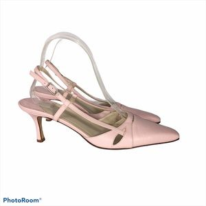 Talbots Italian Pink Leather Ankle Strap Slide-8.5